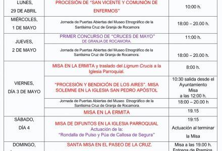 Programa de Actividades Fiestas de la Santísima Cruz 2019